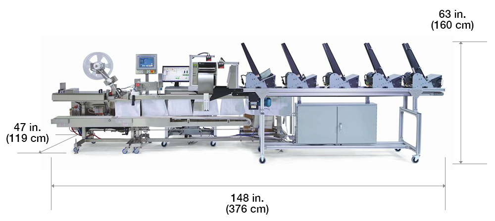 Autofulfillment SPrint bagger with dimensions