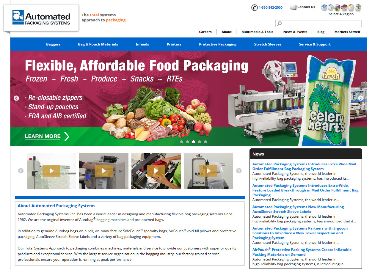 Autobag - Automated Packaging Systems Launches New Website